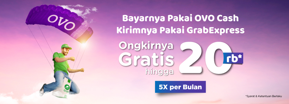 Diskon 5x Gratis Ongkir Pakai Grab Express dan OVO Cash -