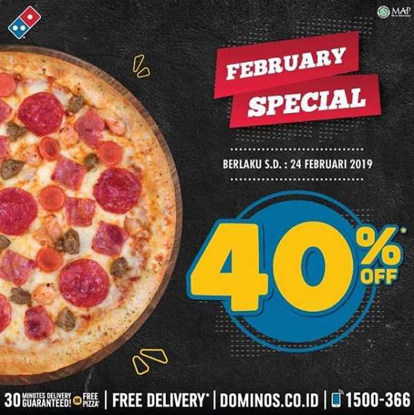 Diskon Domino Pizza February Special Diskon sampai 40%