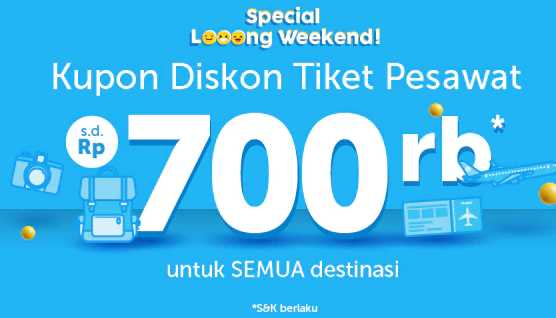 Kupon Tiket Pesawat sampai 700rb Traveloka