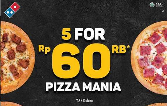 Diskon 5 Personal Pizza Mania CUMA 60Rb Domino Pizza