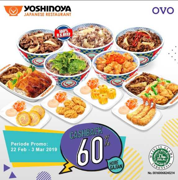Yoshinoya Cashback 60% Dari OVO Hadir Lagi!